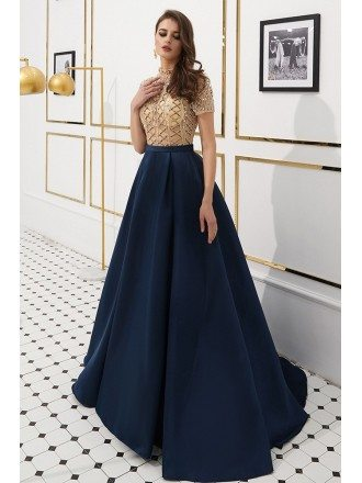 Navy Blue Satin Long Formal Dress With Champange Beading Top