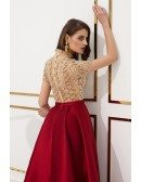 Modest Sleeves Beaded Red Party Dress With Champagne