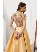 Gorgeous Long Gold Formal Prom Dress With Beading Sleeves