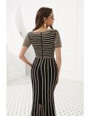 Special Beading Stripe Black Long Prom Dress With Short Sleeves