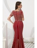 Beautiful Mermaid Red Sleeved Prom Dress With Beading Stripe