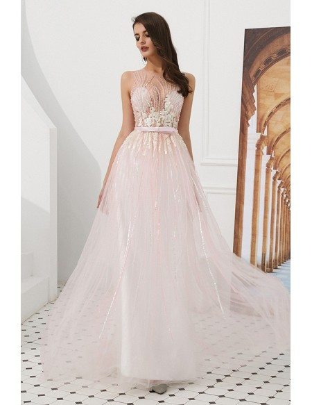 Blushing Pink Long Sequin Tulle Prom Dress With Sheer Top