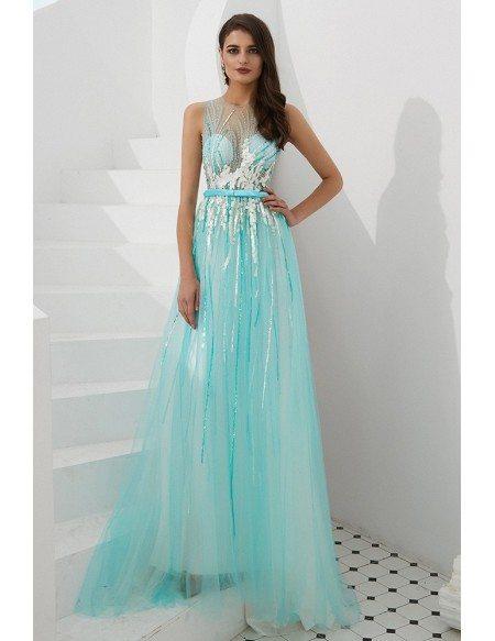 Sleeveless Long Sequin Aqua Blue Prom Dress With Sheer Top