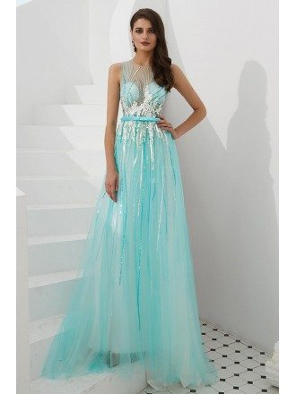 Sleeveless Long Sequin Aqua Blue Prom Dress With Sheer Top