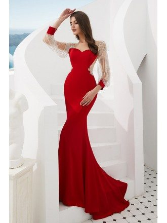 Beautiful Red Sheer Mermaid Formal Dress With Beading Fringing Sleeves