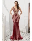 Sexy V Neck Burgundy Beading Stripe Prom Dress In Mermaid