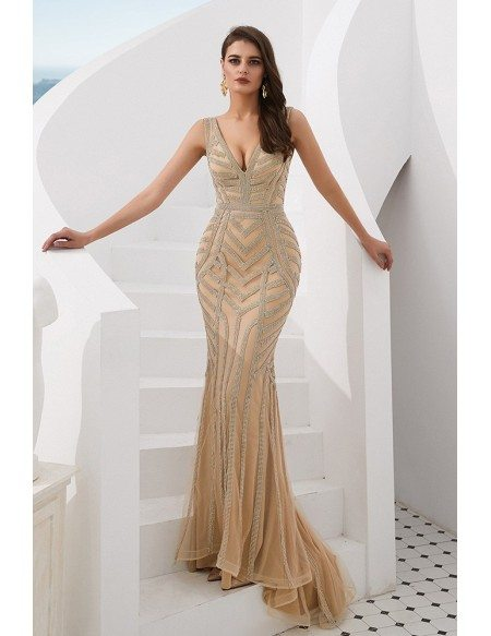 Deep V Champagne Long Prom Dress With Beading Stripe