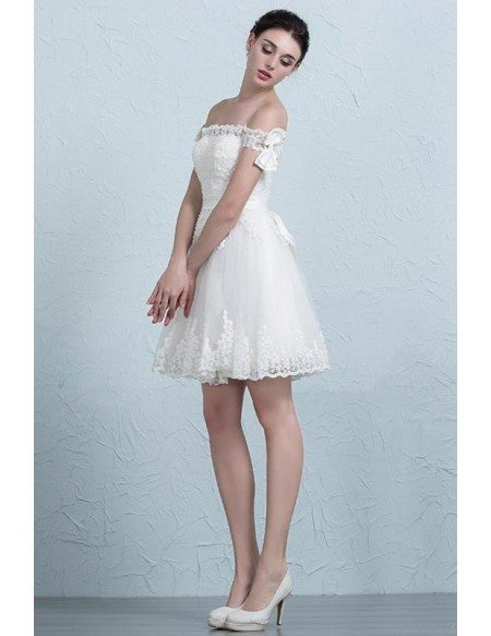 Stylish A-Line Off-the-Shoulder Short Tulle Wedding Dress With Appliques Lace