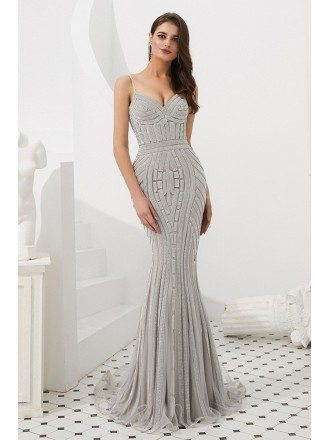 Silver Stripe Beading Party Dress With Spaghetti Straps