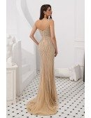 Mermaid Champagne Beaded Stripe Party Dress With Spaghetti Straps