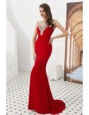 Simple Mermaid Long Red Prom Dress With Beading Neck