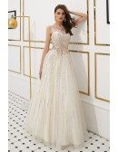 Sparkly Beading Long Sequin Tulle Prom Dress In Sleeveness
