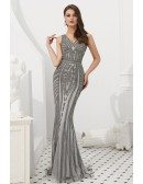 Fitted Mermaid Grey All Beading Prom Dress For Curvy Girls