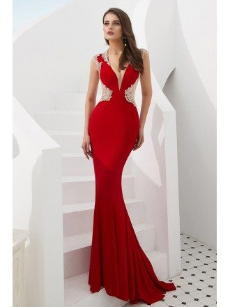 Mermaid Tight Red V Neck Prom Dress With Beading Sheer Back