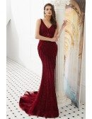 Glittering Beading Tulle Burgundy Prom Dress With Sweetheart Neck