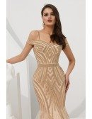 Off Shoulder Champagne Long Tulle Beaded Stripe Formal Dress For Woman