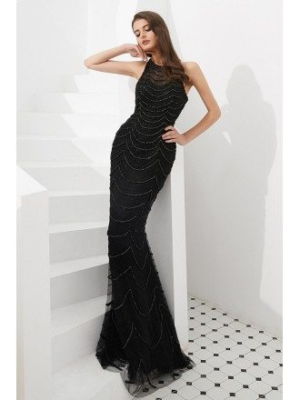 Pretty Mermaid Black Long Prom Dress With Beading Stripe