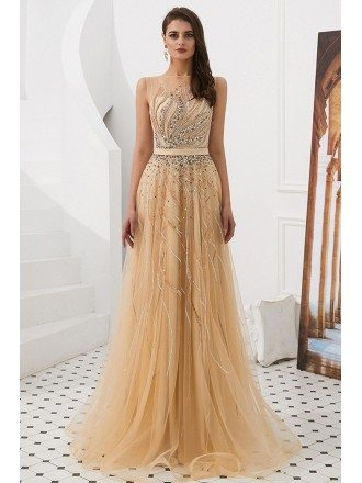 Elegant Champagne Beaded Tulle Evening Dress Long For Woman