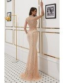 Gothic Sparkle Beading Formal Dress Long Mermaid With Sheer Back