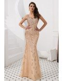 Sparkly Gold Sequined V Neck Party Dress For Petite Woman