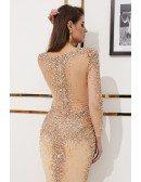 Glittering Long Sleeve Mermaid Formal Dress With Sheer Top