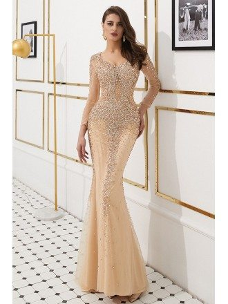 Glittering Long Sleeve Mermaid Formal Dress With Sheer Top