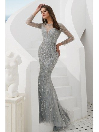 Luxury Silver Mermaid Long Sleeve Prom Dress With Sparkly Beading