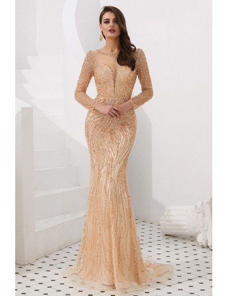 Extravagant Sparkly Beading Gold Mermaid Prom Dress With Long Sleeves