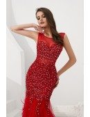 Beautiful Long Mermaid Red Formal Dress Sleeveless With Feathers