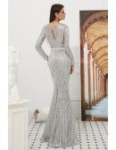 Extravagant Sparkle Silver Long Prom Dress With Beading Tassels