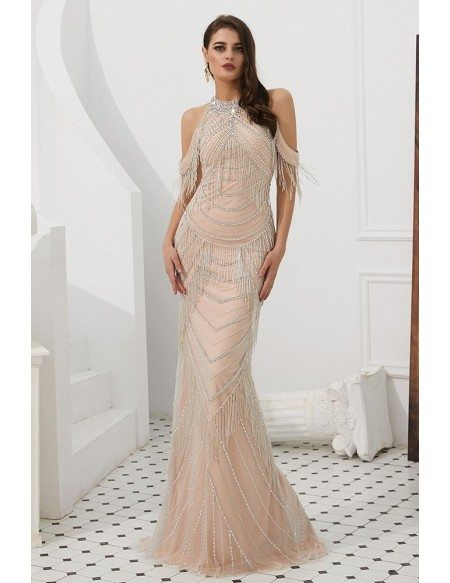 Gothic Cold Shoulder Pink Formal Dress With Beading Tassels