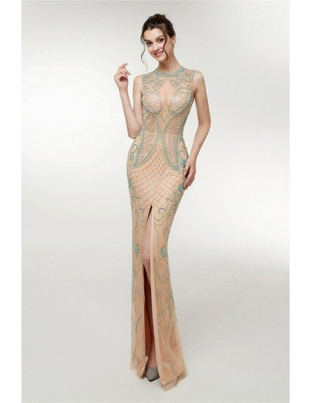 Traditional Long Tight Champagne Evening Dress With Slit Front