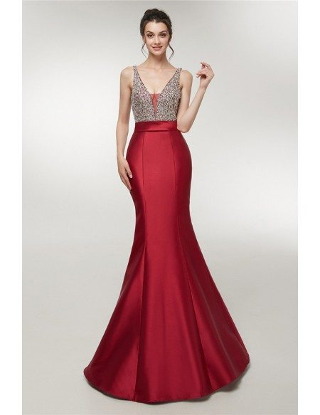 Sparkly Sequin Burgundy Formal Mermaid Evening Gown With Open Back