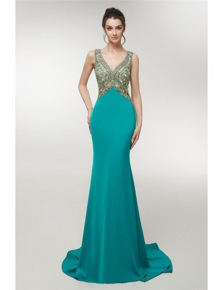 Fitted Long Trained Beading Green V Neck Prom Dress With Open Hole Back