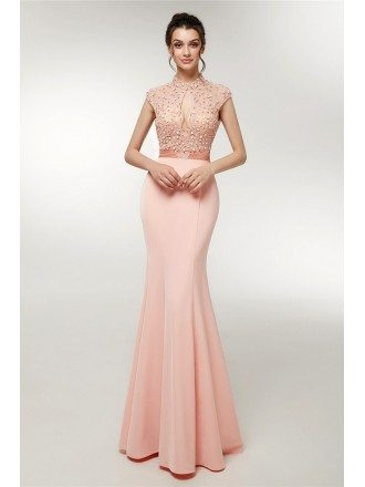 Cute Pink Long Mermaid Beading Prom Dress With High Neck