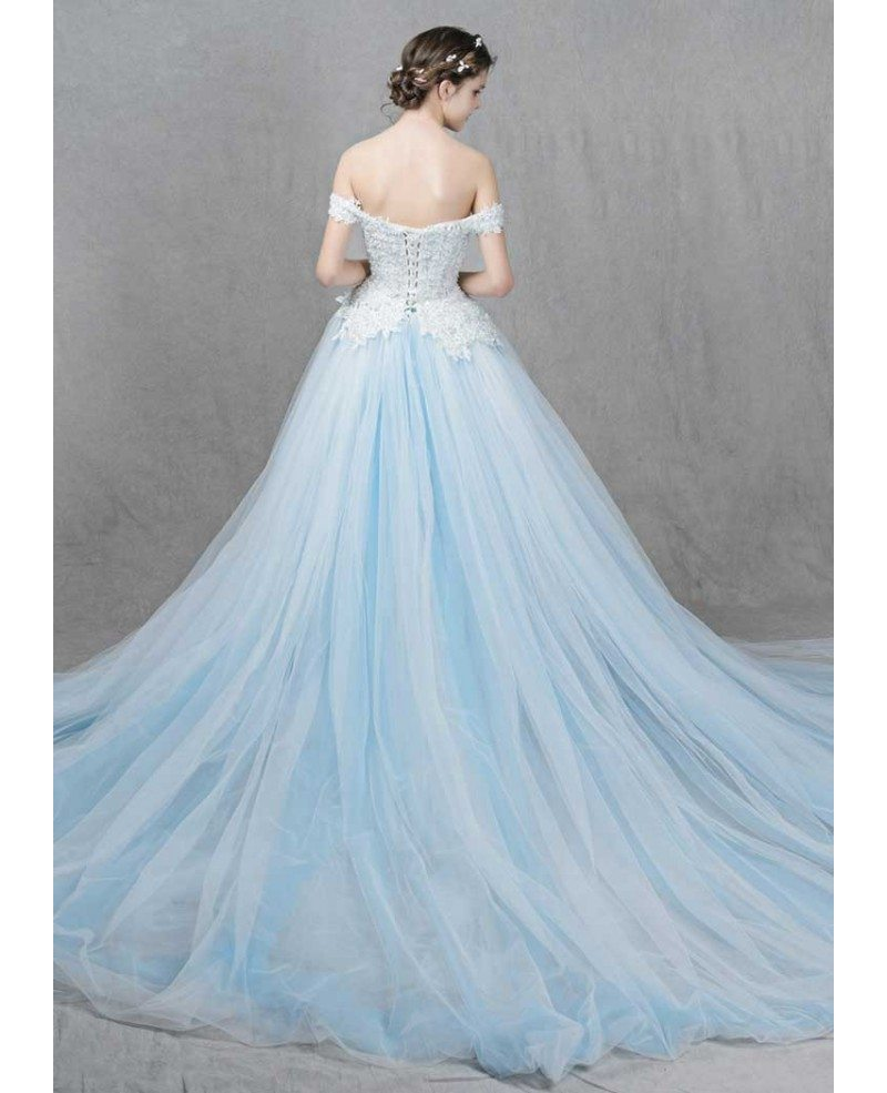 Romantic Ball-Gown Off-the-Shoulder Sweep Train Tulle