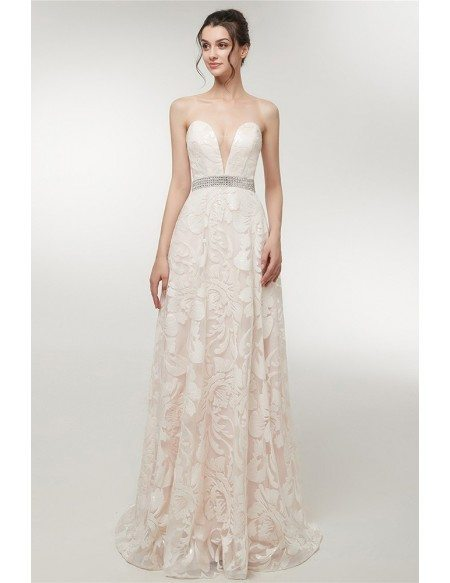 Special Lace White Formal Dress Strapless With Beading Waist