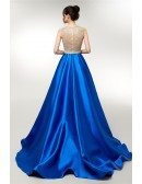 Beautiful Sleeveless Royal Blue Formal Gown With Sweep Train
