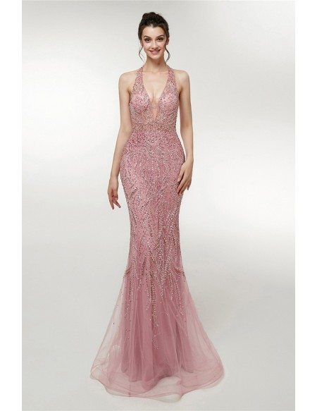 Fitted Mermaid Beaded Long Halter Pink Prom Dress Open Back