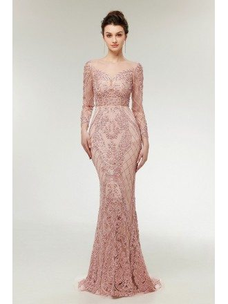 Unique Blush Pink Lace Mermaid Long Prom Dress With Beading