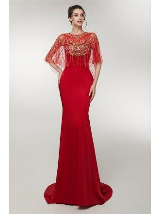 Modest Fitted Mermaid Red Prom Dress With Cape Sleeves