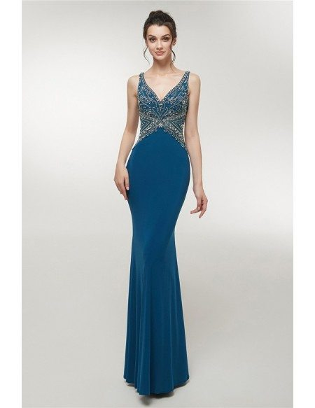 Open Back Slim Long Blue Sweetheart Evening Dress With Beading Top