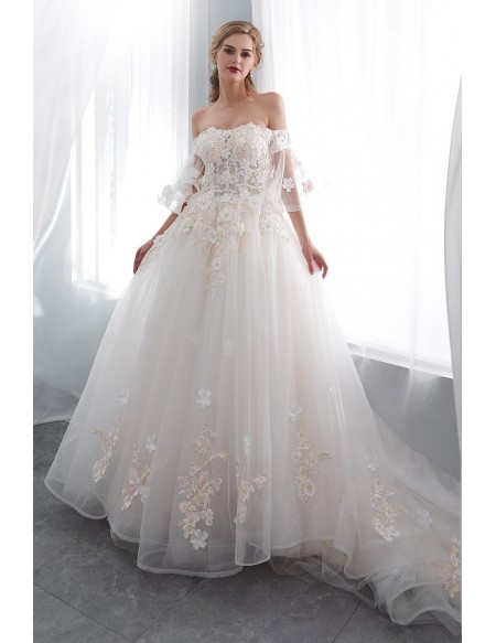 Romantic Ballroom Floral Wedding Dress With Off Shoulder Flare Sleeves