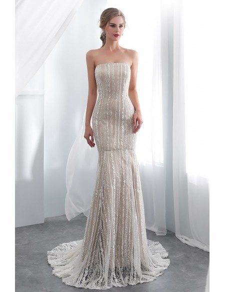 Strapless Simple Lace Mermaid Champagne Dress For Wedding