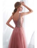 Elegant Slit A Line V Neck Tulle Prom Dress With Beading Top
