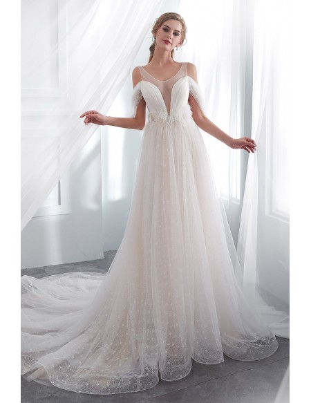 Unique Open Back Tulle Lace Wedding Dress With Cold Shoulder