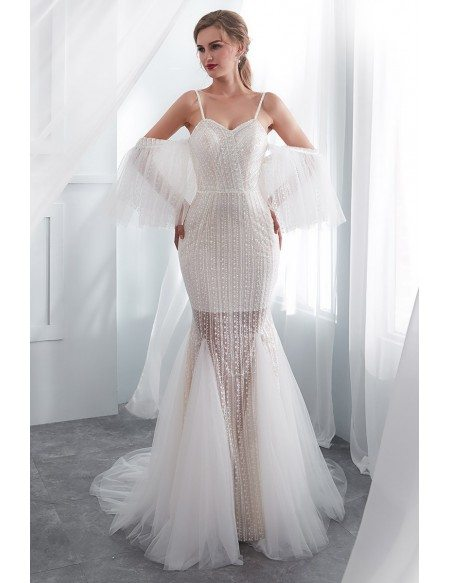 Weird Ivory Fitted Modern Wedding Dress With Detachable Sleeves
