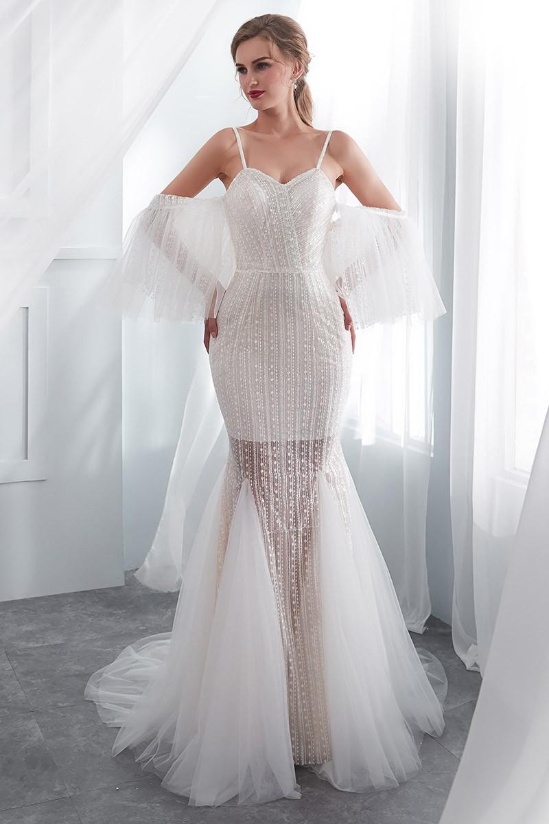 [$6.6] Weird Ivory Fitted Modern Wedding Dress With Detachable Sleeves  #E6 - GemGrace.com