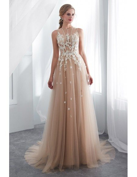 Special Lace Tulle Champagne Long Formal Dress With Modest High Neck