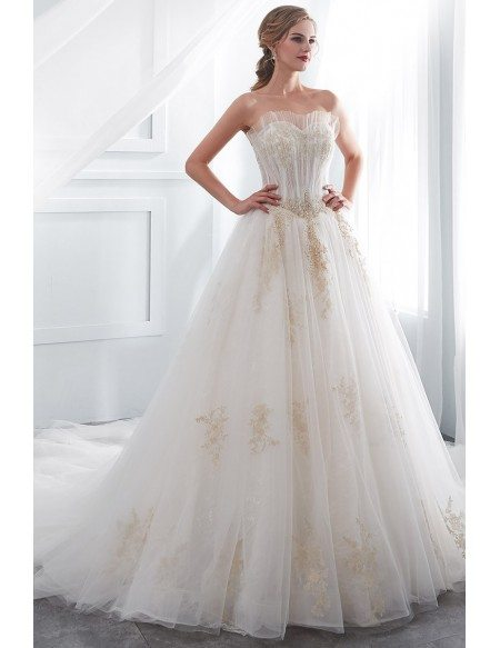Strapless Lace Tulle Ball Gown Wedding Dress With Gold Applique